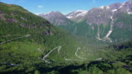 Aerial view of hairpin bends in Norwegian mountain pass video