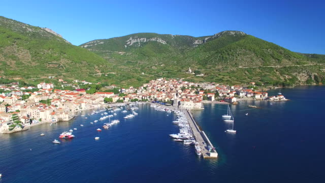 Aerial view of harbour in Komiza, Croatia video