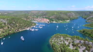 Aerial view of harbour in Skradin, Croatia video