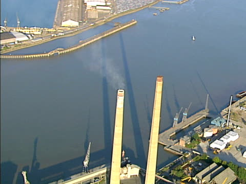 Aerial view of heavy industry smoke tower. NTSC, PAL video