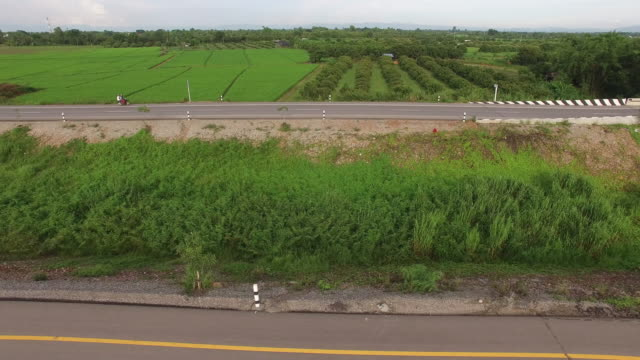 Aerial view of highway in countryside video