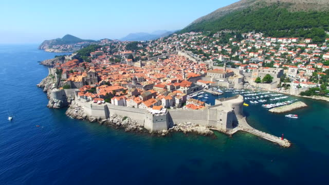 Aerial view of historic walled city of Dubrovnik video