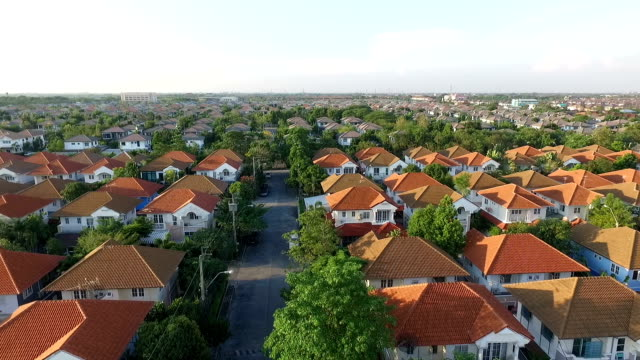 aerial view of home village in bangkok thailand video