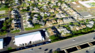 Aerial view of homes and highway, Honolulu video