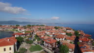 4K Aerial view of houses in town of Sozopol, Bulgaria video