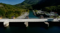 Aerial view of hydroelectric power plant video