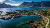 Aerial view of idyllic Lofoten Islands coastline, Norway video