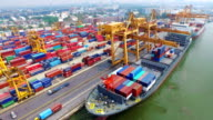 Aerial View of Industrial port with containers ship video