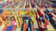 Aerial View of Industrial port with containers video