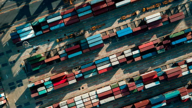Aerial view of Industrial port with containers,Hyperlapse video
