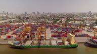 Aerial view of Industrial shipping port in Bangkok, Thailand video