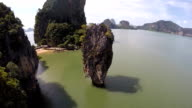 Aerial view of James Bond Island on Phang Nga Bay, Thailand video