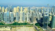 Aerial view of Jumeirah Lake Towers, Dubai video