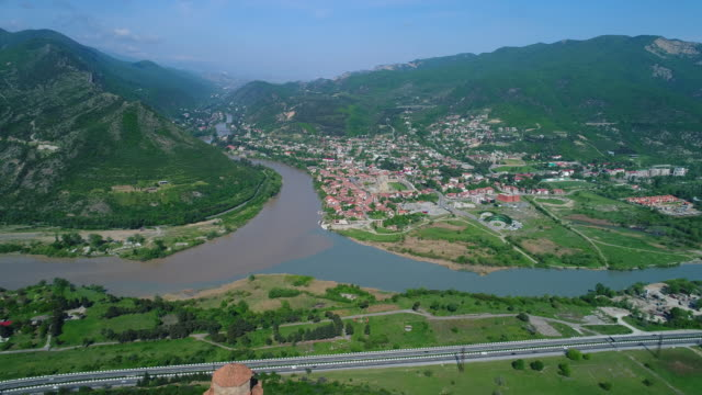 Aerial view of Jvary monastery and Mtskheta, Georgia video