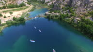 Aerial view of kayaking on the Zrmanja river, Croatia video