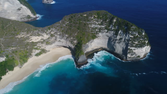 Aerial view of Kelingking Beach in Nusa Penida, Bali, Indonesia. video