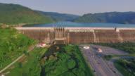 Aerial View of Khun Dan Prakan Chol Dam, Thailand video