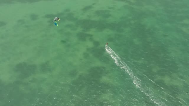 Aerial view of Kite surfing in the shallows of the island video