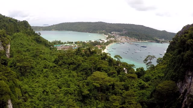 Aerial view of Koh Phi Phi island,Krabi Province, Thailand video