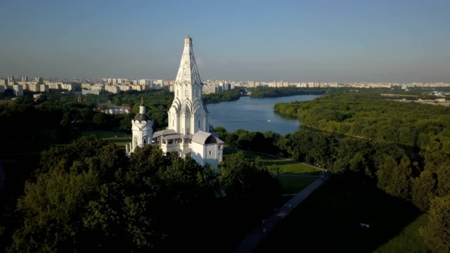 Aerial view of Kolomenskoye park and Moscow river video