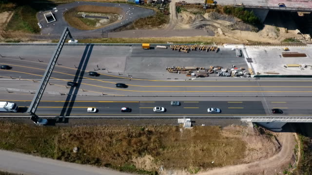 Aerial view of large bridge construction video