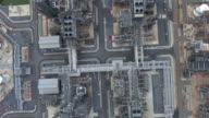 Aerial view of large oil refinery facilities video
