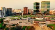 Aerial view of Lima Peru Larcomar Miraflores cityscape video
