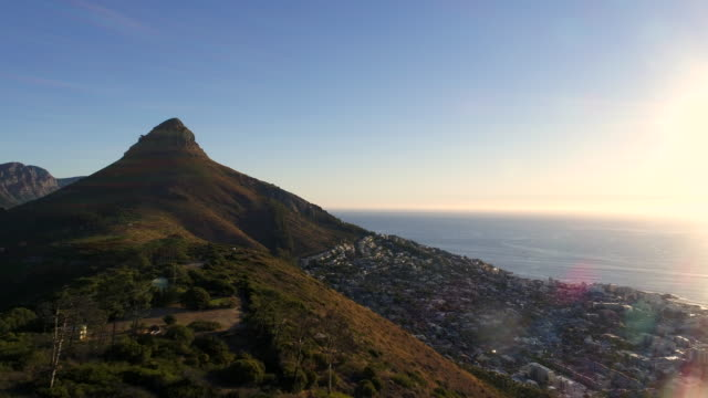 Aerial view of Lion's head mountain and surroundings video