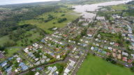 Aerial View of Lismore Country Town in Australia With Flood video