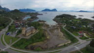Aerial view of Lofoten cathedral in Norway video