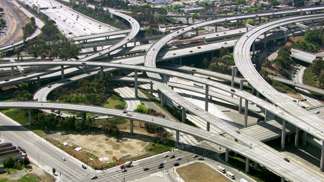 Aerial view of Los Angeles freeway intersection video