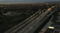 Aerial view of Los Angeles Suburbs at sunrise 4k video