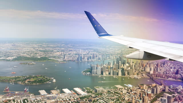Aerial View of Lower Manhattan as Seen from Landing Airplane video