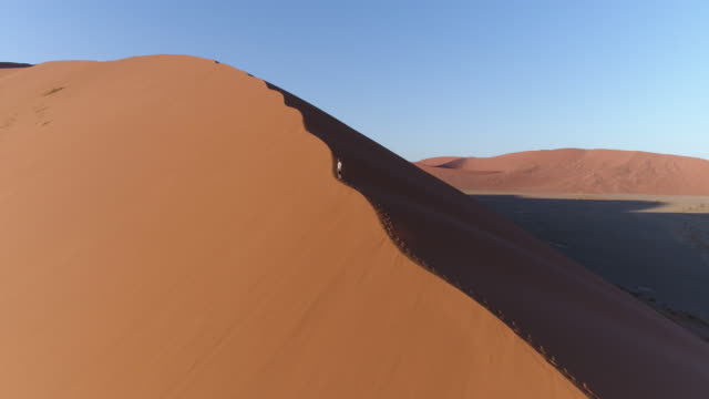 Aerial view of male tourist taking in the spectacular view of the vast sand dunes in the Namib desert video