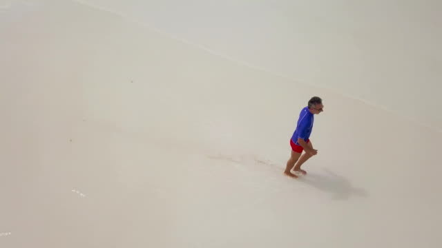Aerial view of man running on tropical beach in Seychelles video
