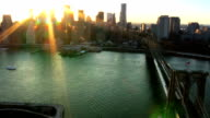 Aerial view of Manhattan and the Brooklyn Bridge, NY, USA video