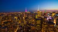 Aerial view of Manhattan skyline, New York at night video
