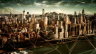 Aerial view of Manhattan Skyline with connections. Technology-Futuristic. video