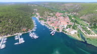 Aerial view of marina in Skradin, Croatia video