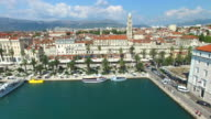 Aerial view of marina in Split, Croatia video