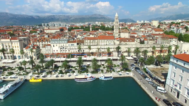 Aerial view of marina in Split video
