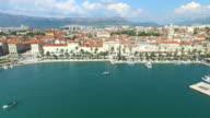 Aerial view of marina in Split video