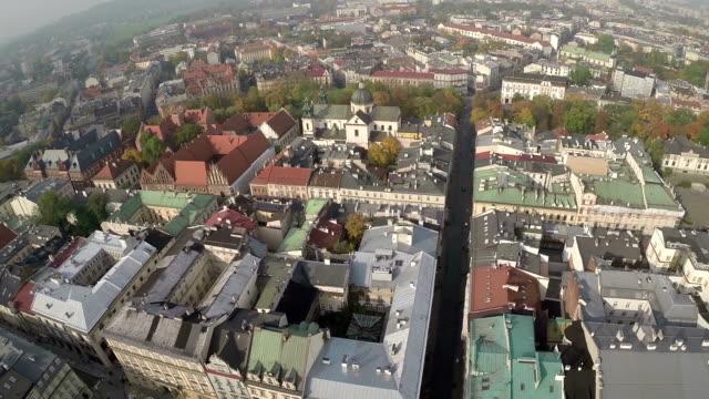 Aerial View of Market Square, Krakow Poland video