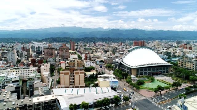Aerial View of Miaoli City (Hakka City) move into the city center, Taiwan video