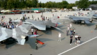 Aerial view of military air show video