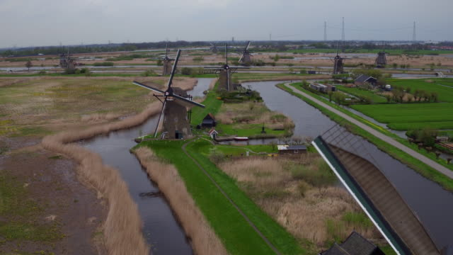 aerial view of Mills in Kinderdijk video