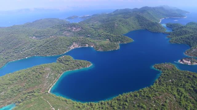 Aerial view of Mljet Island, also called Green Island, Croatia video