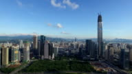 Aerial view of modern buildings and urban cityscape of shenzhen,real time. video