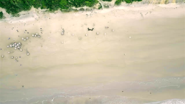 Aerial view of  Moeraki Boulders in New Zealand video