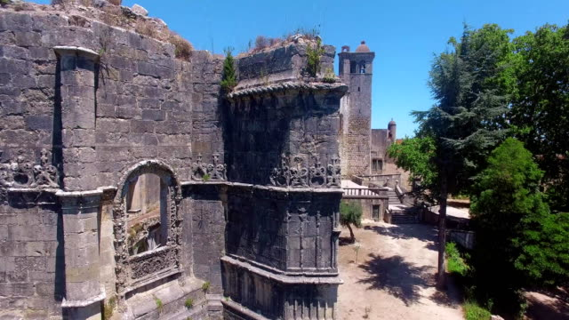 Aerial view of monastery Convent of Christ in Tomar, Portugal video